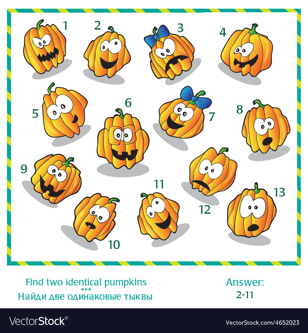 Halloween visual puzzle - find two identical vector | Price: 1 Credit (USD $1)