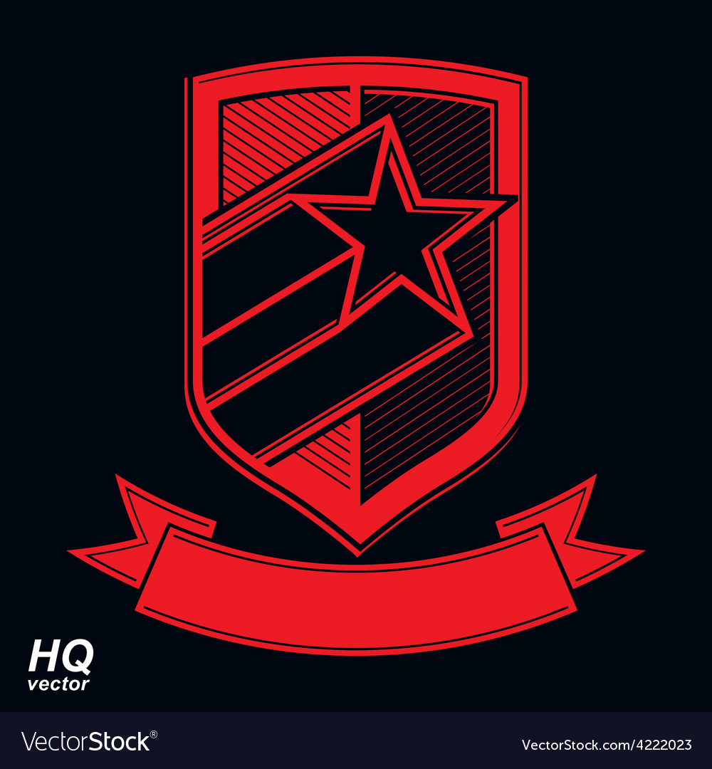 Military shield with pentagonal comet star vector | Price: 1 Credit (USD $1)