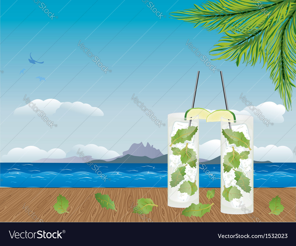 Mojito cocktail on the table2 vector | Price: 1 Credit (USD $1)
