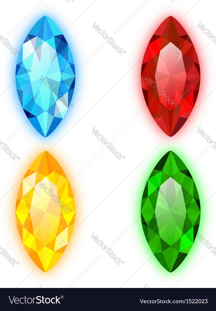 Set of four gems marquise shaped vector | Price: 1 Credit (USD $1)