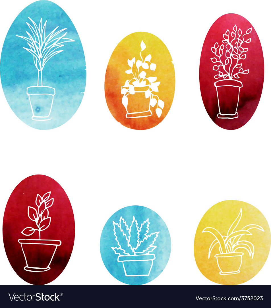 Set of water color houseplants icons vector   Price: 1 Credit (USD $1)