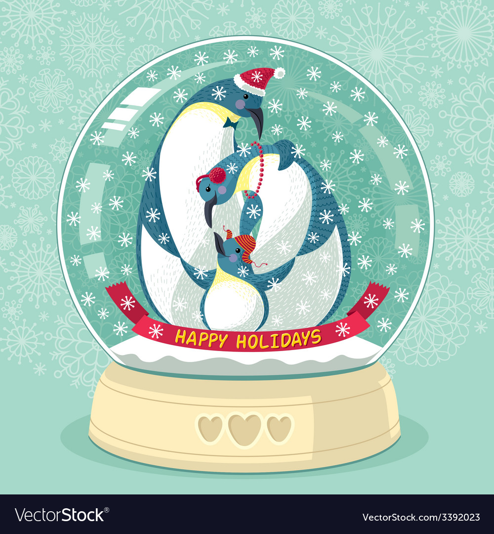 Snowing globe with penguin family inside vector | Price: 1 Credit (USD $1)