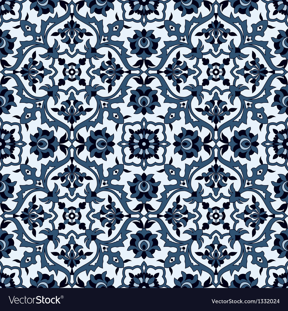 Arabesque seamless pattern in blue and white vector   Price: 1 Credit (USD $1)