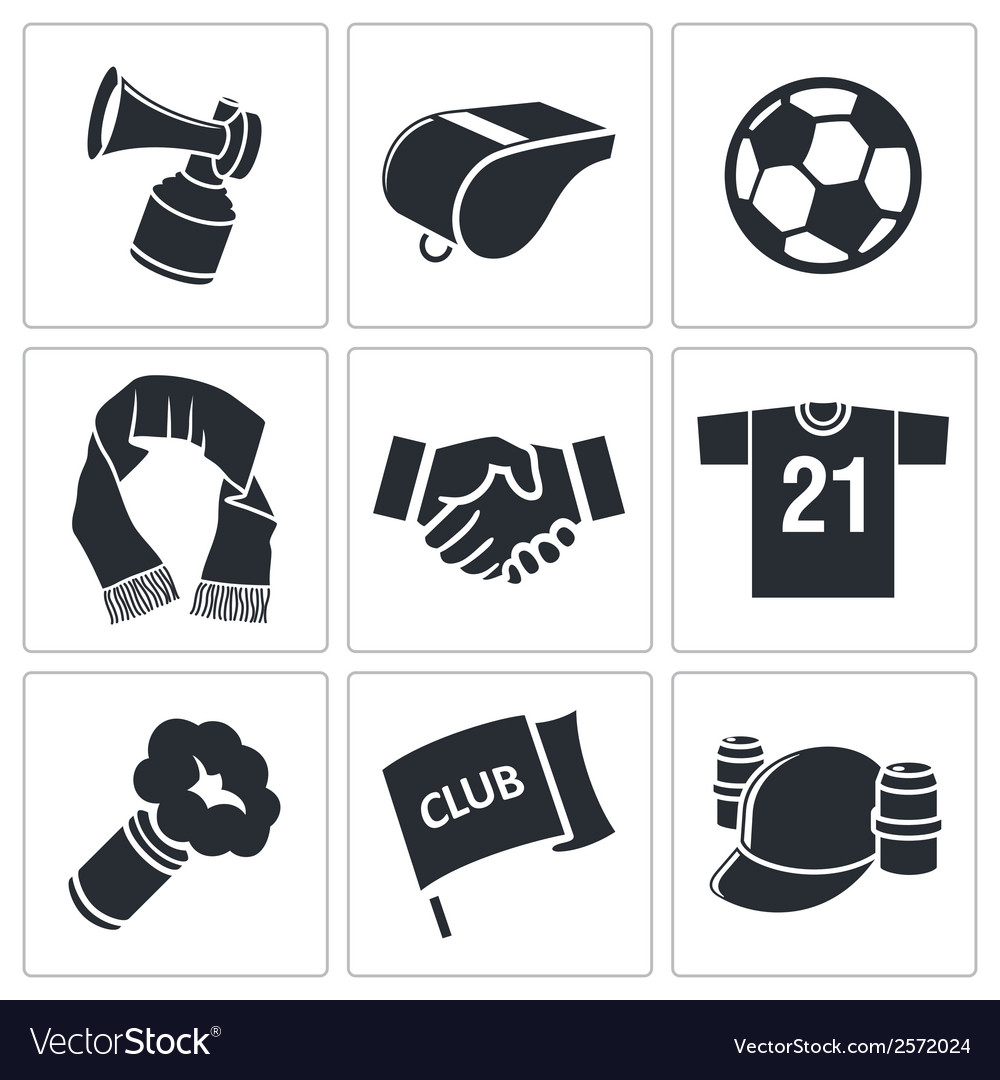 Attributes soccer fan icon set vector | Price: 1 Credit (USD $1)