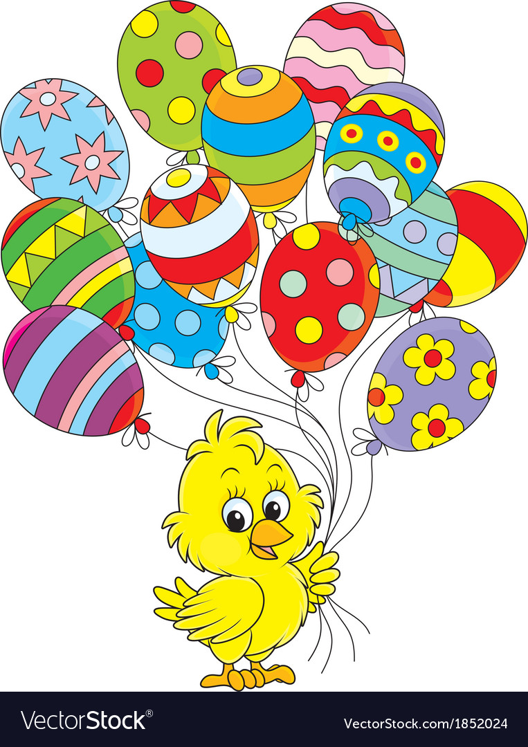 Easter chick with balloons vector | Price: 1 Credit (USD $1)