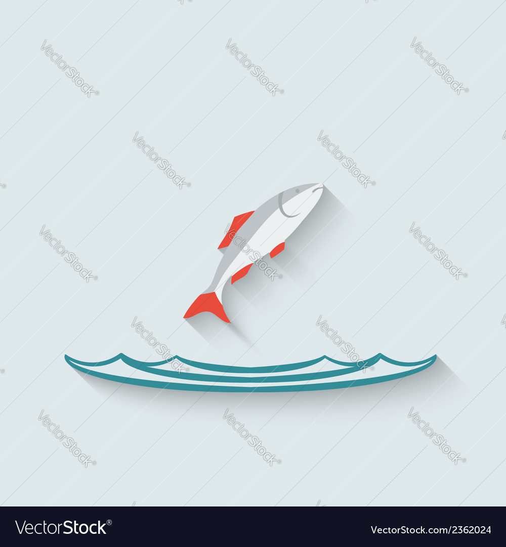 Fish over water background vector | Price: 1 Credit (USD $1)