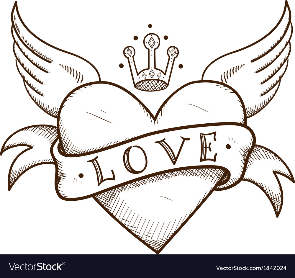 Heart with banner and crown vector | Price: 1 Credit (USD $1)