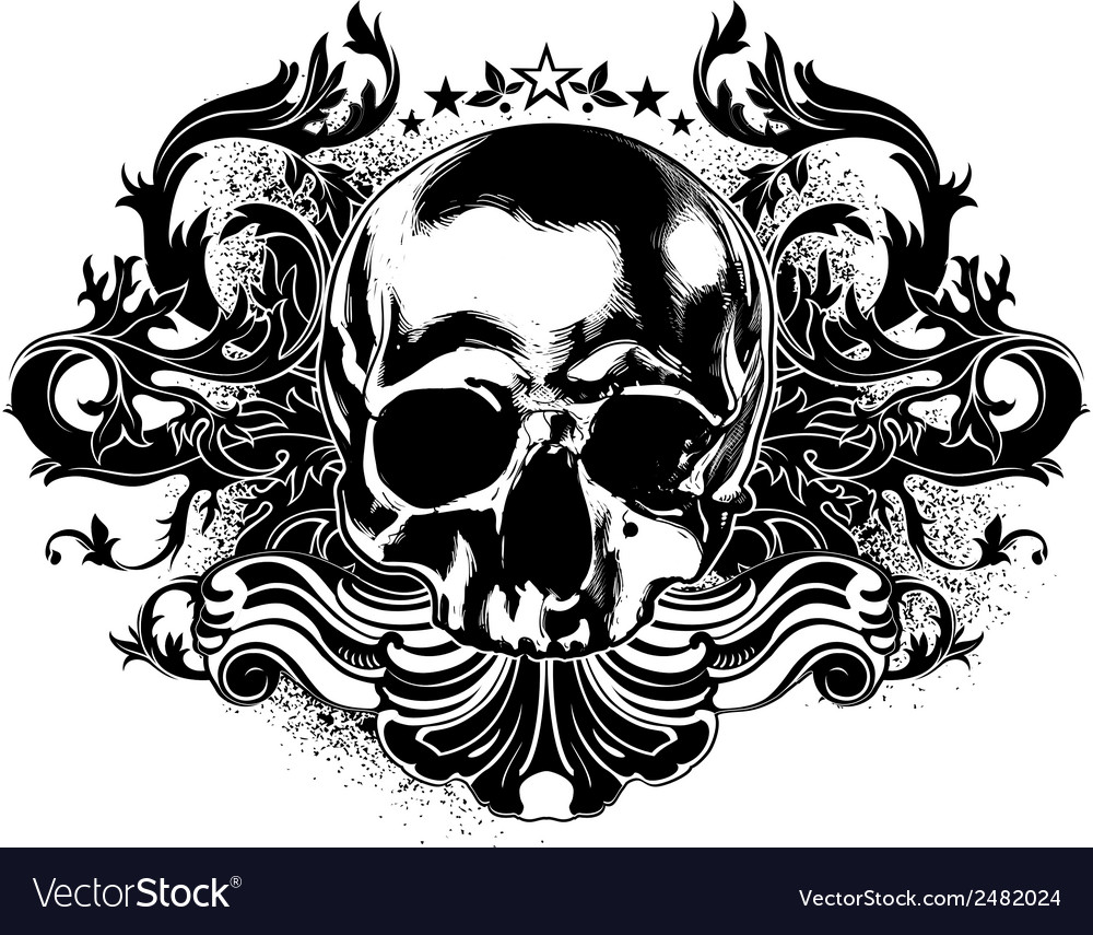 Human skull decorative vector | Price: 1 Credit (USD $1)