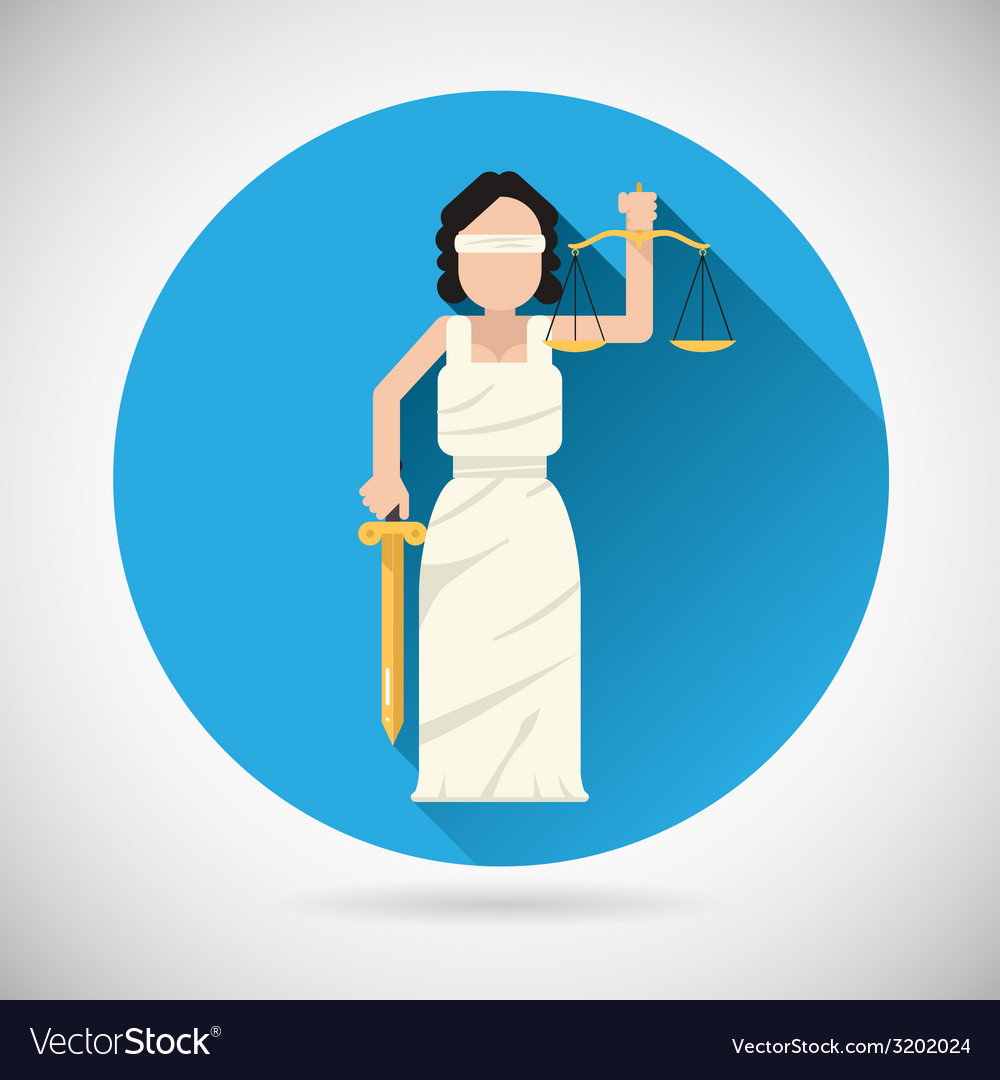 Themis femida character with scales and sword icon vector | Price: 1 Credit (USD $1)