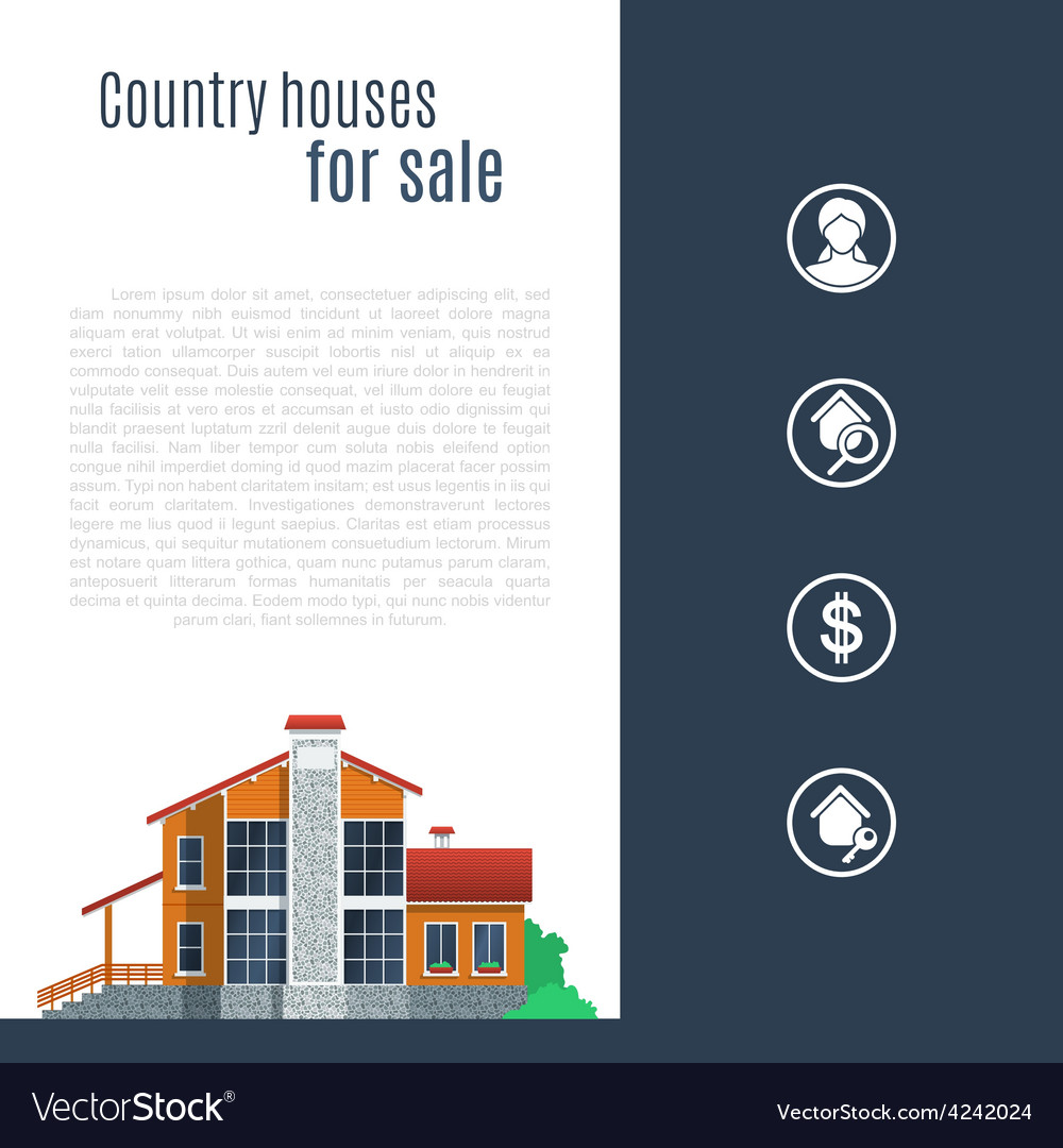Orange country house in flat style vector | Price: 3 Credit (USD $3)