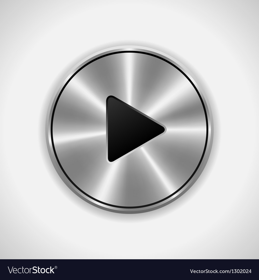 Realistic play metal button eps10 isolated vector | Price: 1 Credit (USD $1)