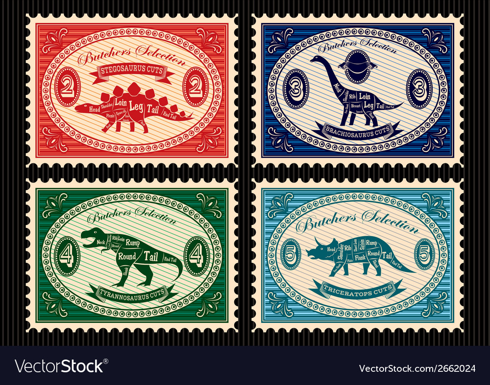 Set of postage stamps dinosaurs vector | Price: 1 Credit (USD $1)