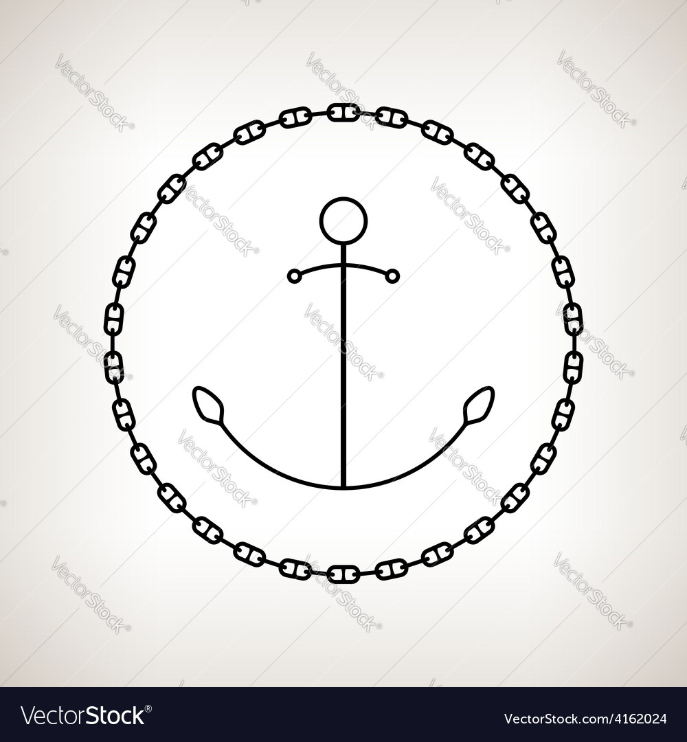 Silhouette anchor and chain on a light background vector | Price: 1 Credit (USD $1)