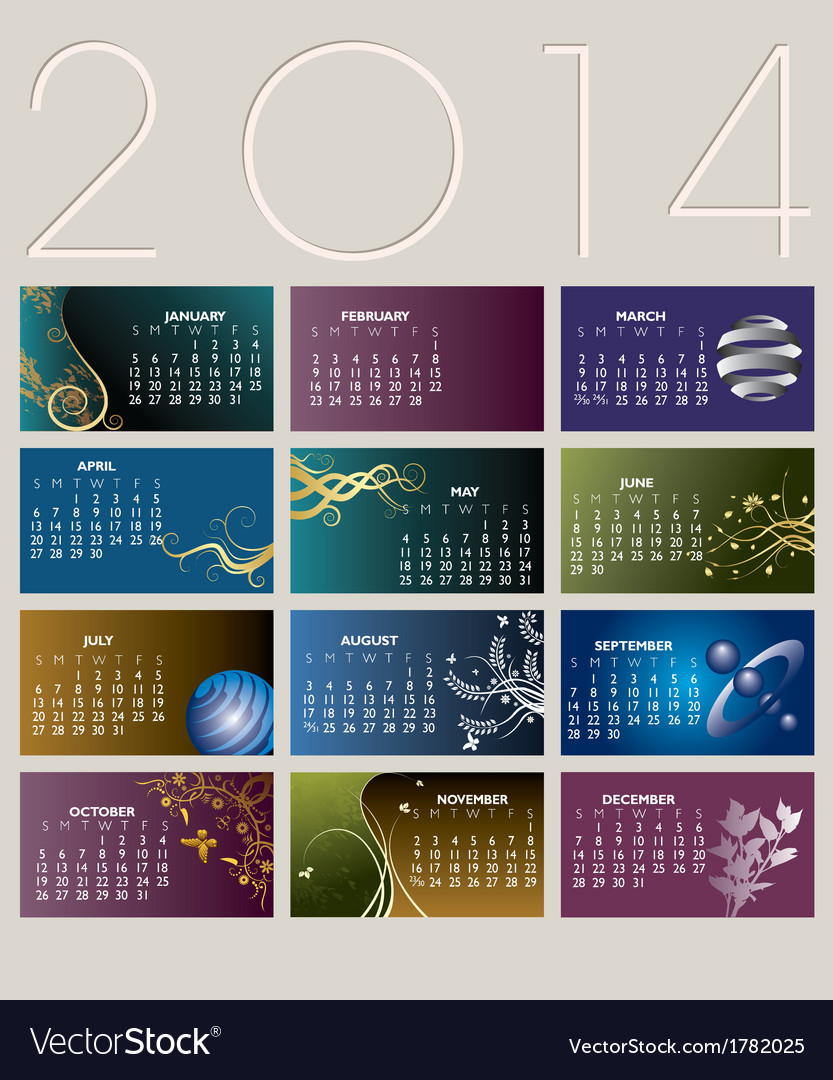 2014 card calendar vector | Price: 1 Credit (USD $1)