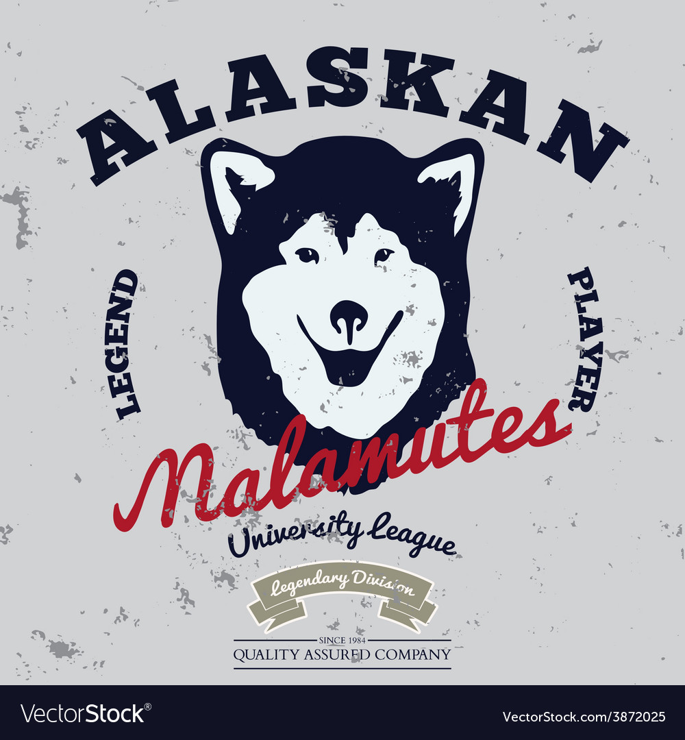 Alaskan malamute club tee graphic vector | Price: 1 Credit (USD $1)