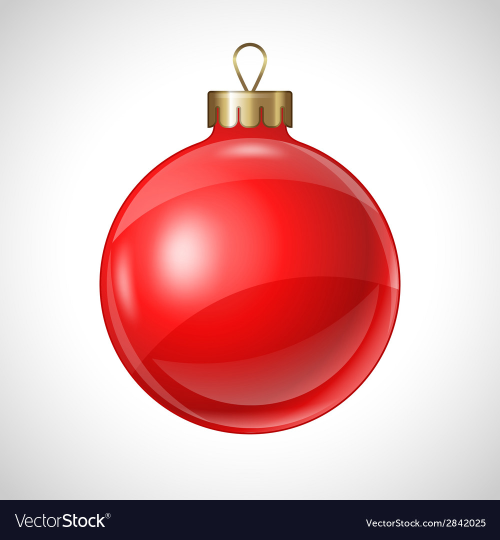 Christmas red ball isolated on white for design vector | Price: 1 Credit (USD $1)