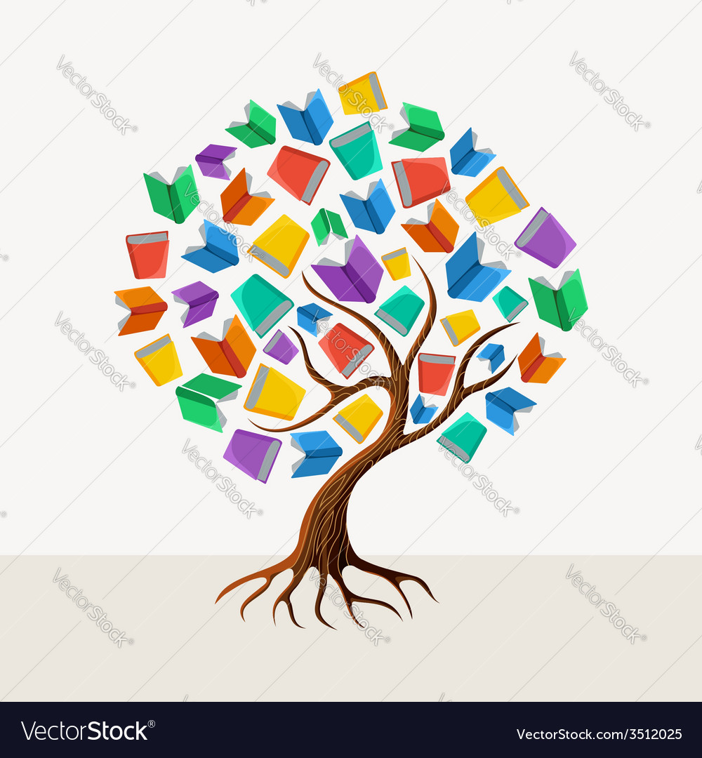 Education tree book concept vector | Price: 1 Credit (USD $1)