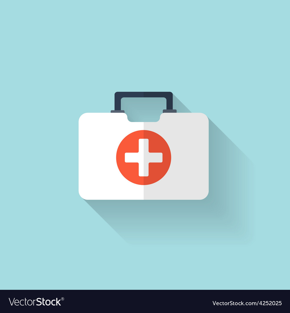 First aid kit flat icon health care vector   Price: 1 Credit (USD $1)
