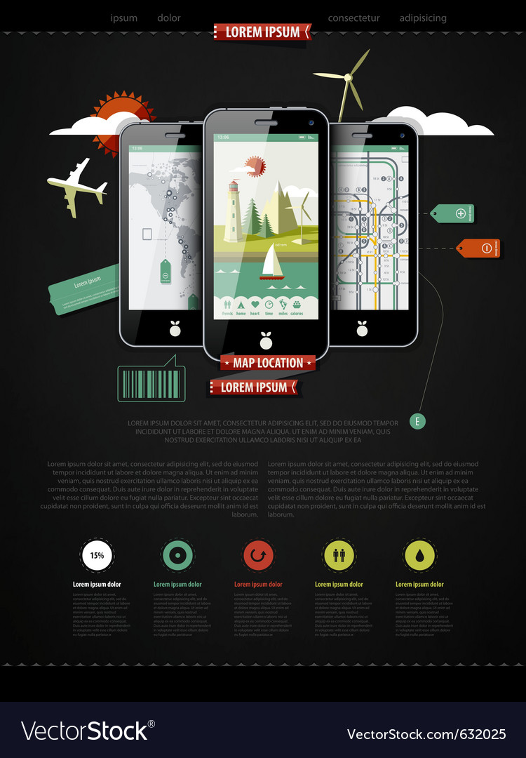 Mark up a page with three mobile phones vector | Price: 3 Credit (USD $3)