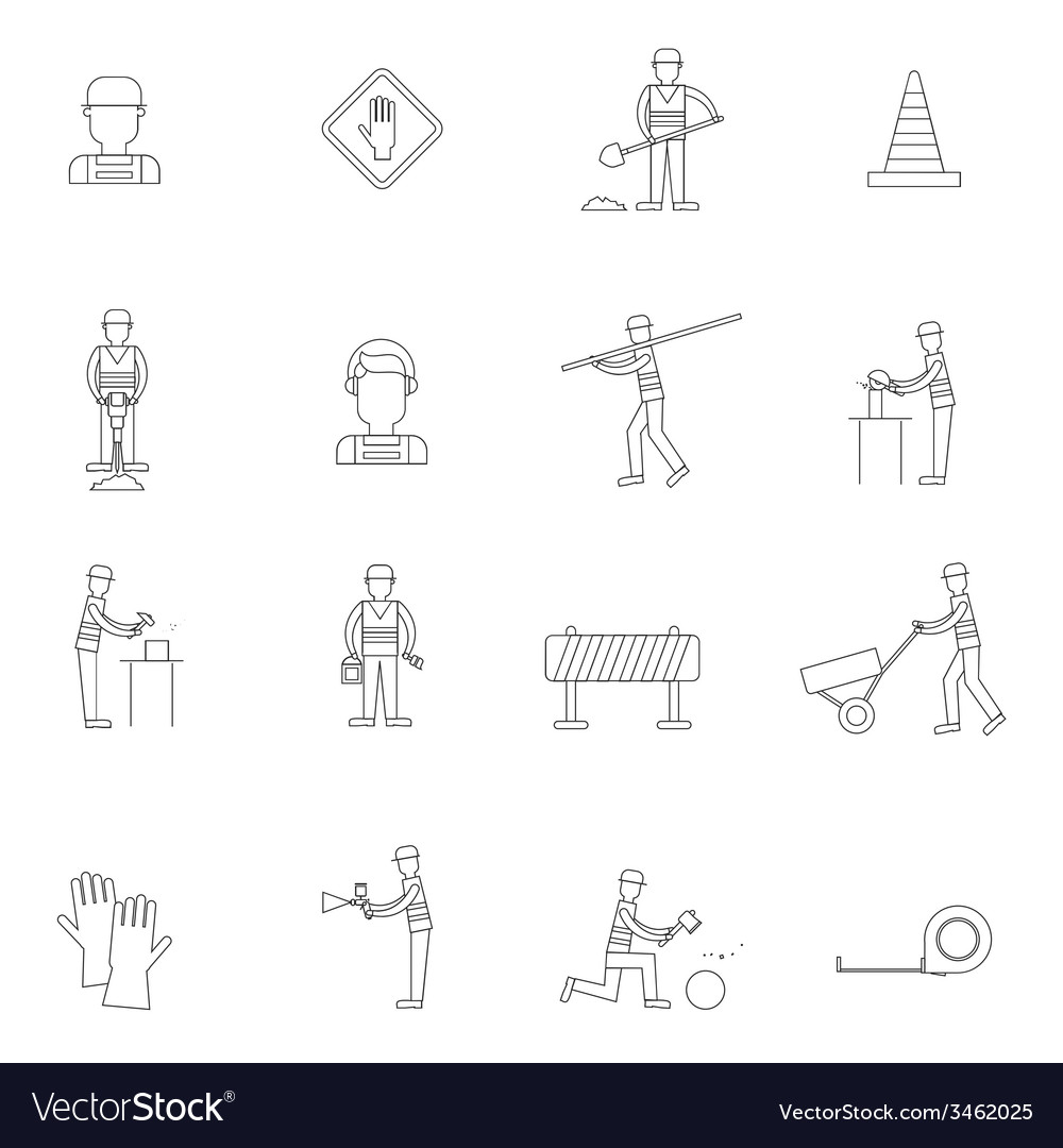 Road worker outline icon vector | Price: 1 Credit (USD $1)