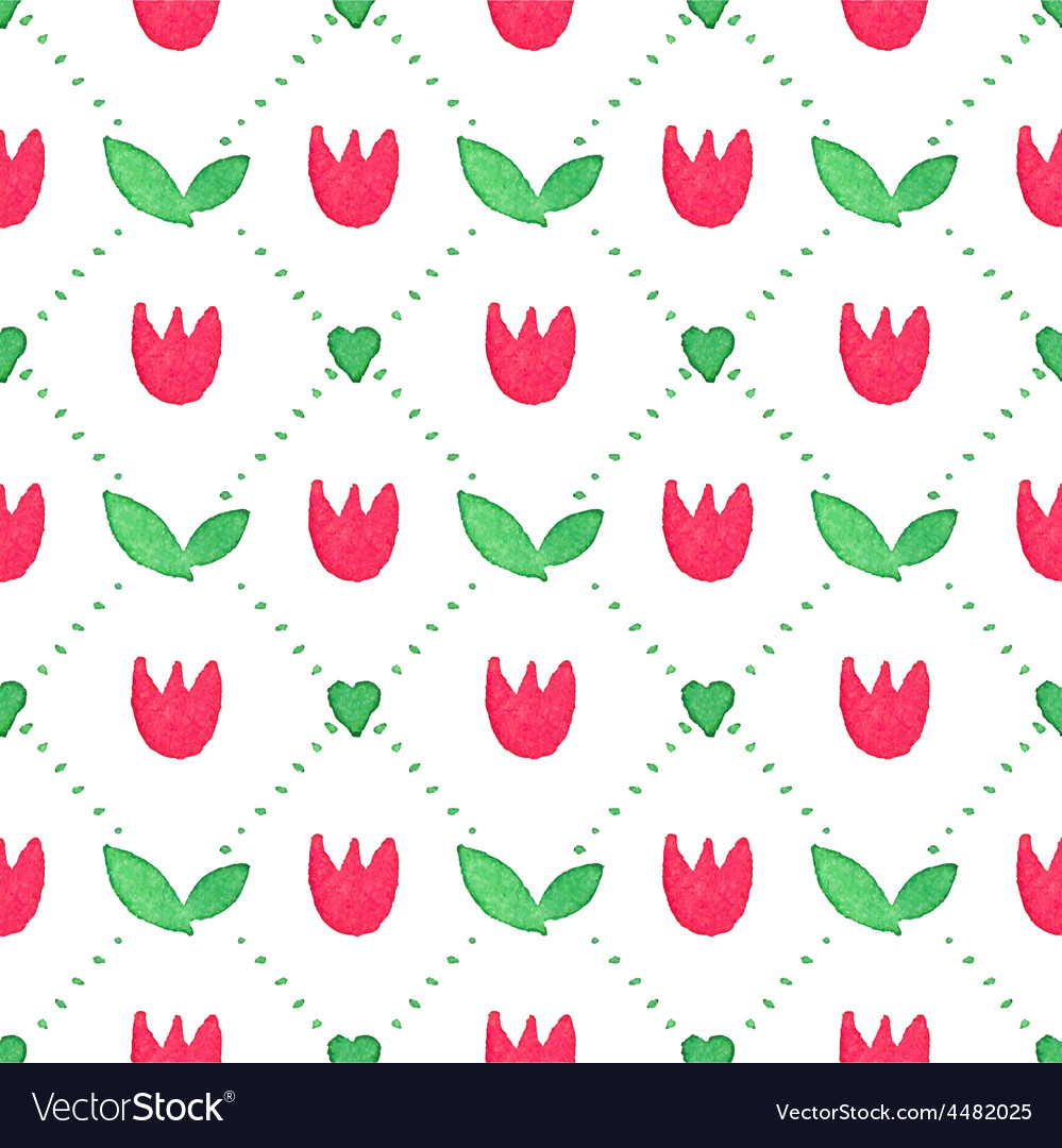 Seamless watercolor pattern with tulips on the vector | Price: 1 Credit (USD $1)