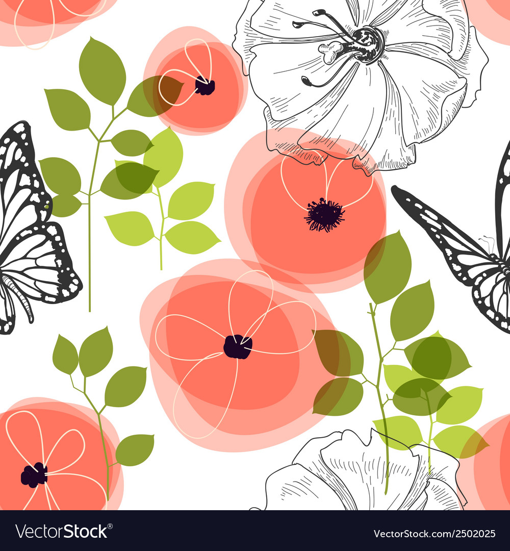 Spring seamless pattern flowers and butterfly vector | Price: 1 Credit (USD $1)