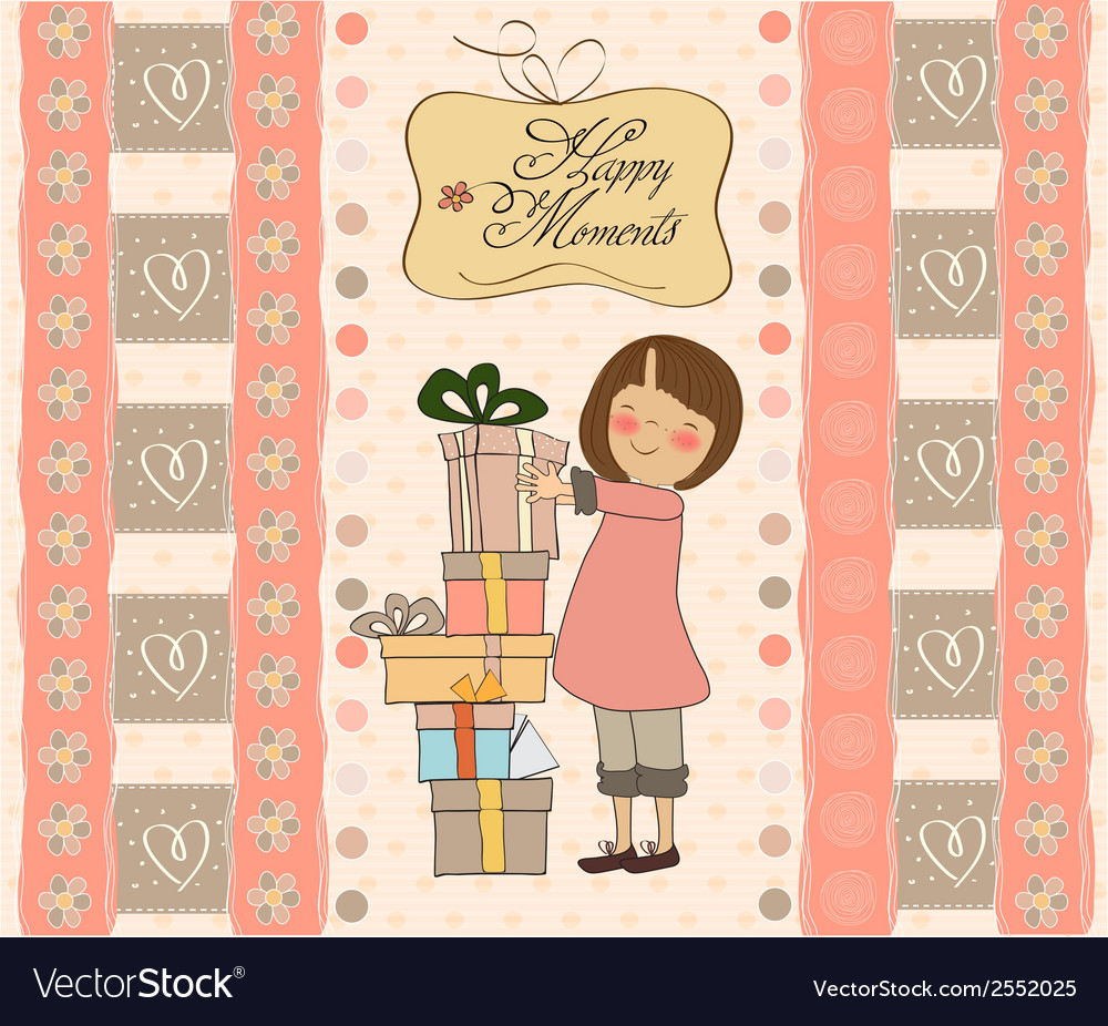 Young girl with gift vector | Price: 1 Credit (USD $1)