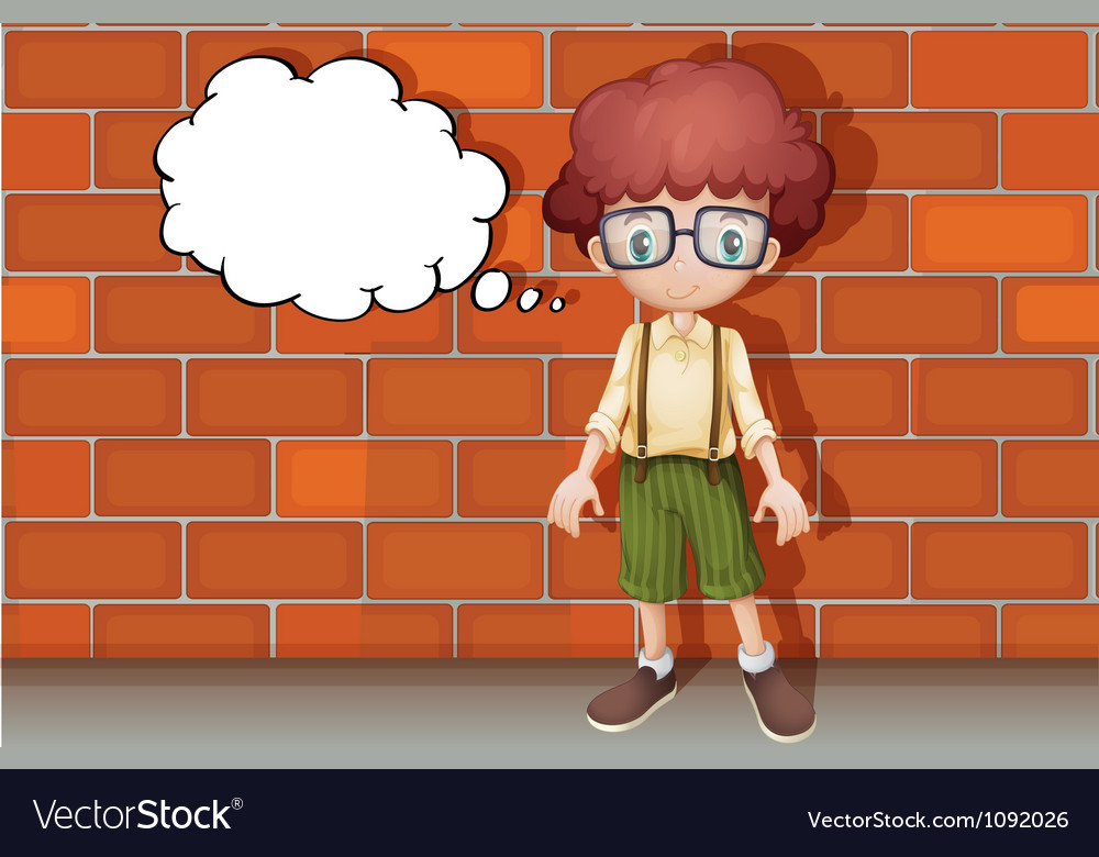 A boy thinking near wall vector | Price: 1 Credit (USD $1)