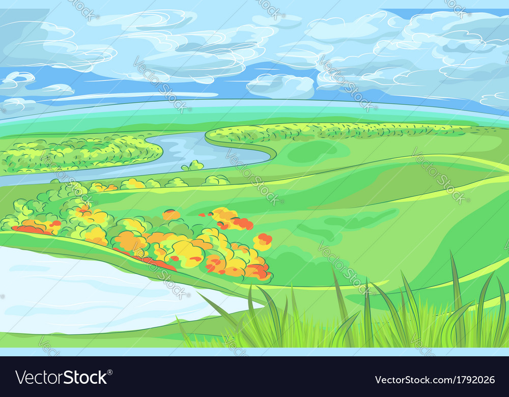 European flat landscape with river vector | Price: 1 Credit (USD $1)