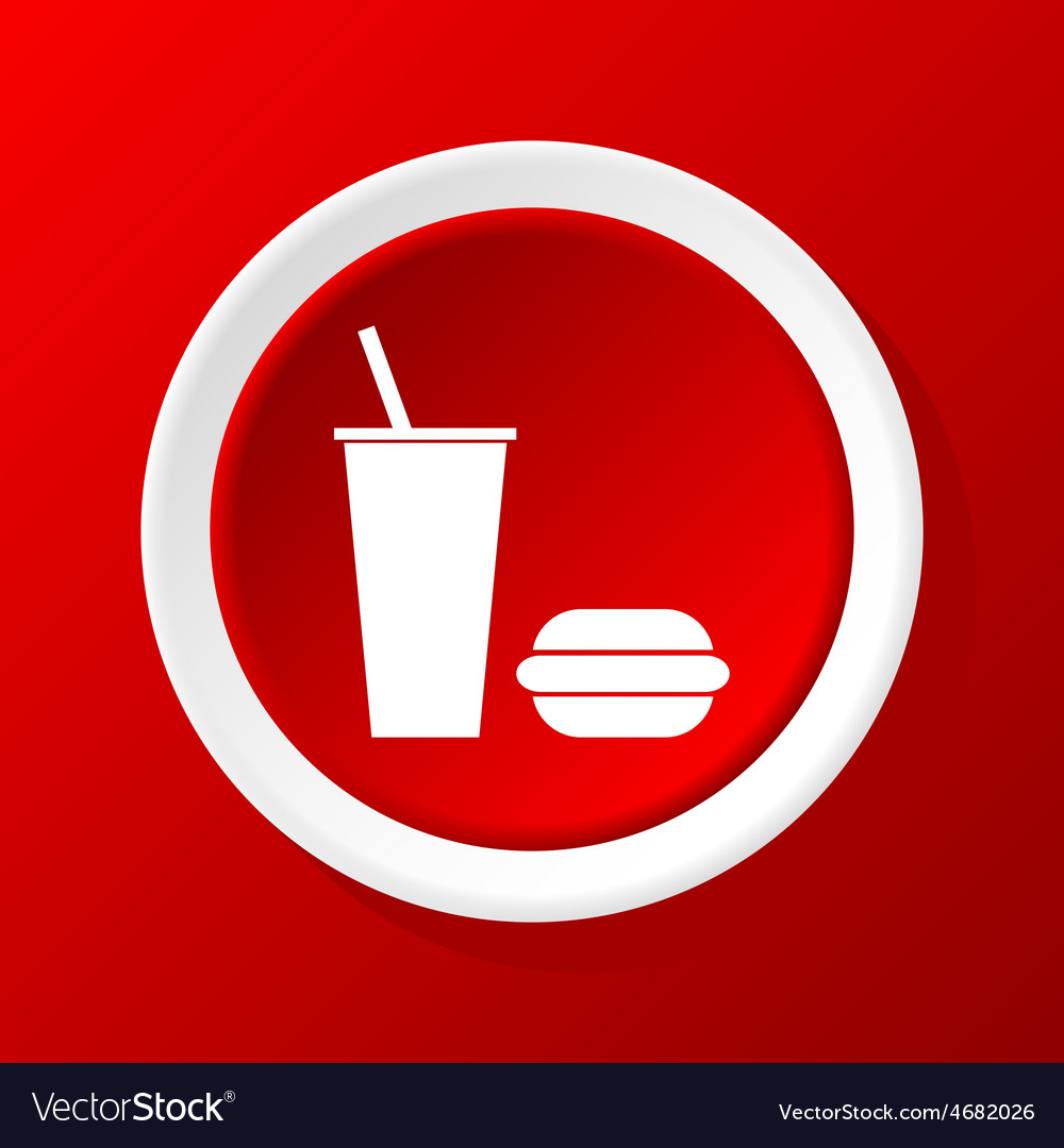 Fastfood icon on red vector | Price: 1 Credit (USD $1)