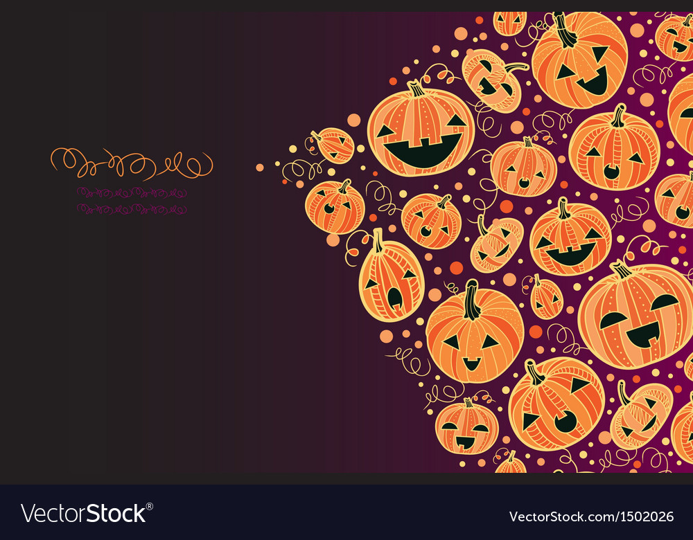 Halloween pumpkins corner decor background vector | Price: 1 Credit (USD $1)