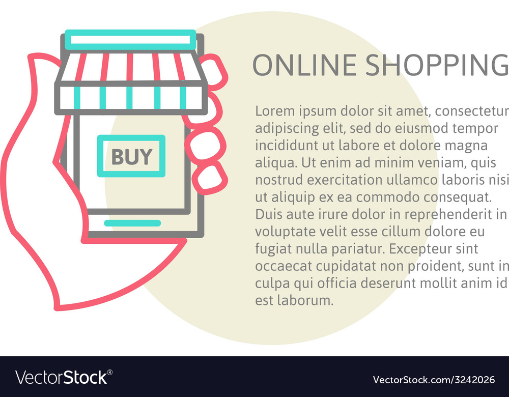 Mobile shopping button line design vector | Price: 1 Credit (USD $1)