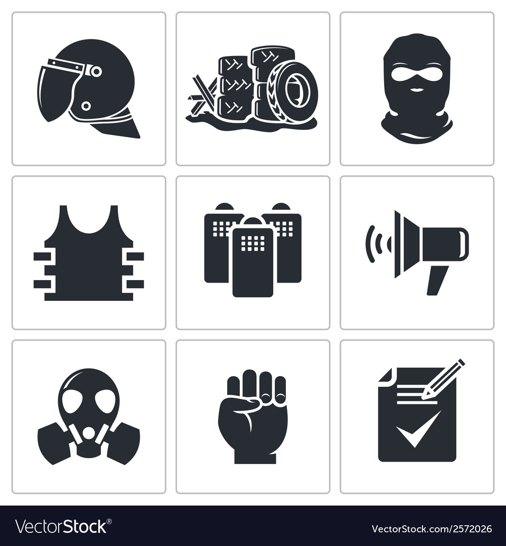 Riots in the street icons set vector | Price: 1 Credit (USD $1)