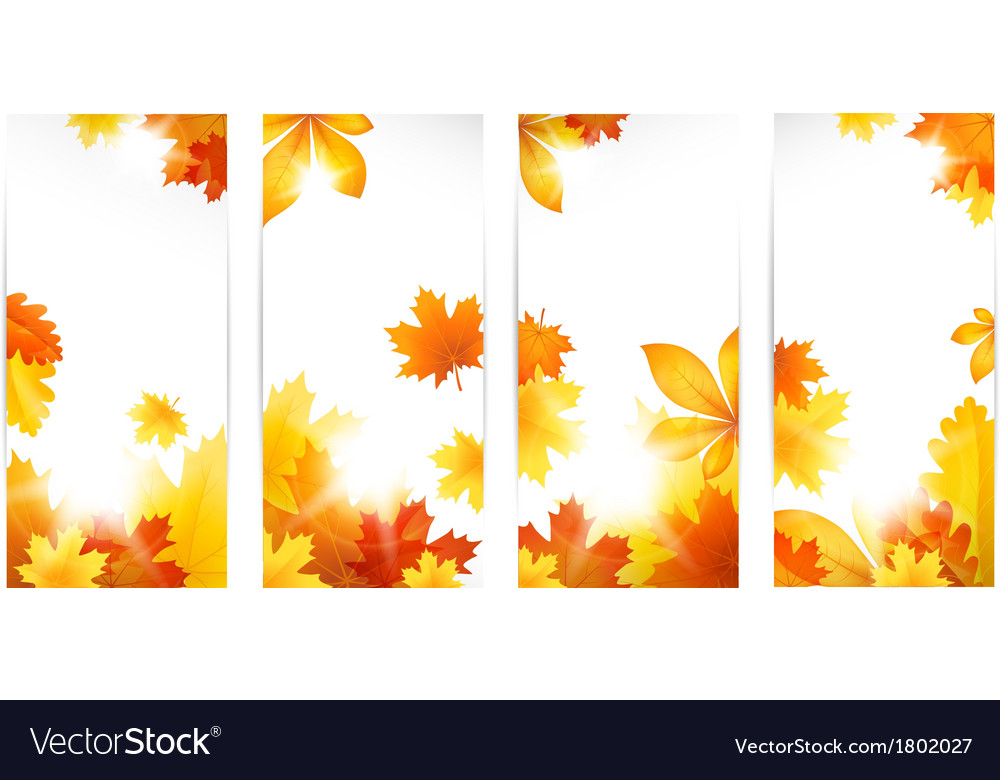 Autumn banners with leaves vector | Price: 1 Credit (USD $1)