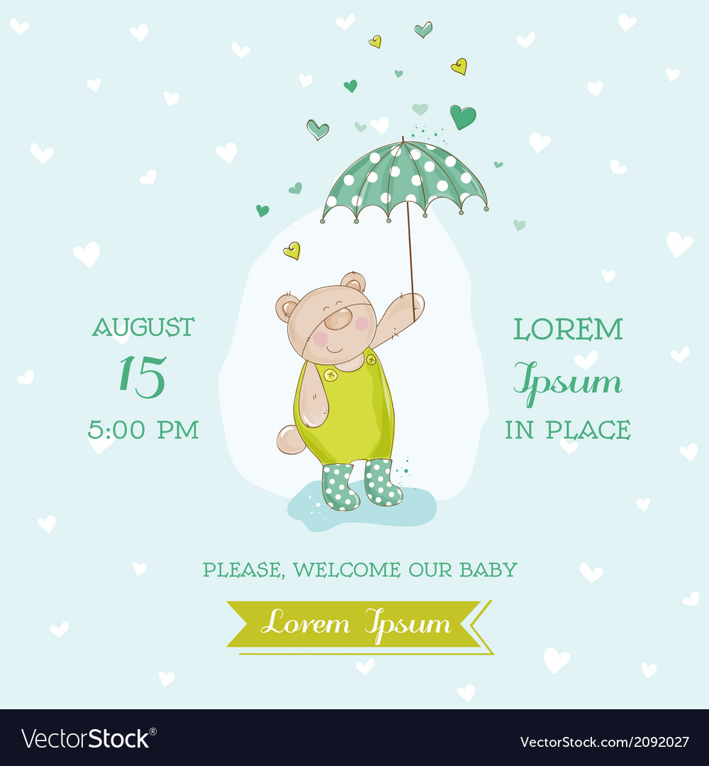 Baby shower card - bear with umbrella vector | Price: 1 Credit (USD $1)