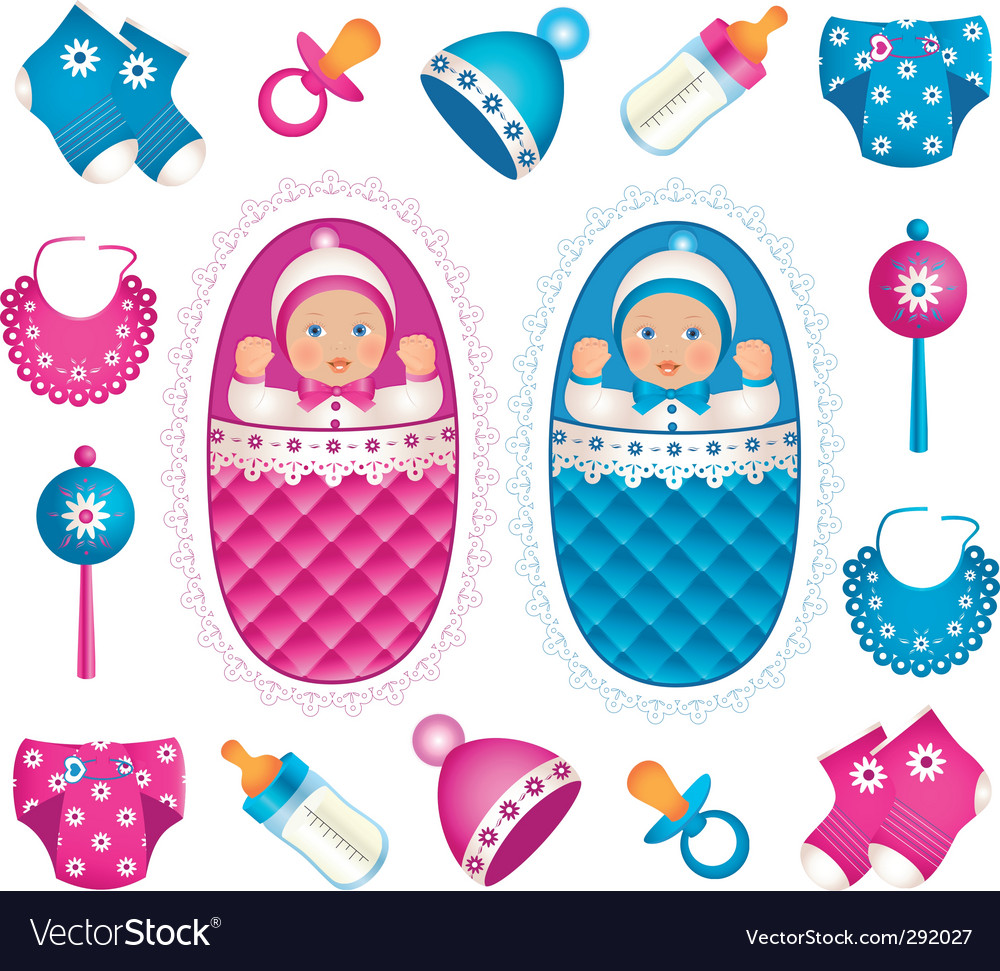 Baby twins vector | Price: 3 Credit (USD $3)