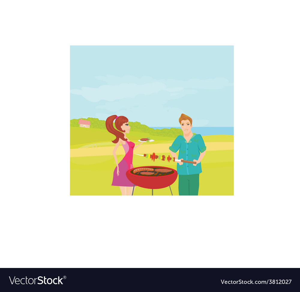 Barbecue party - cook and girl vector | Price: 1 Credit (USD $1)