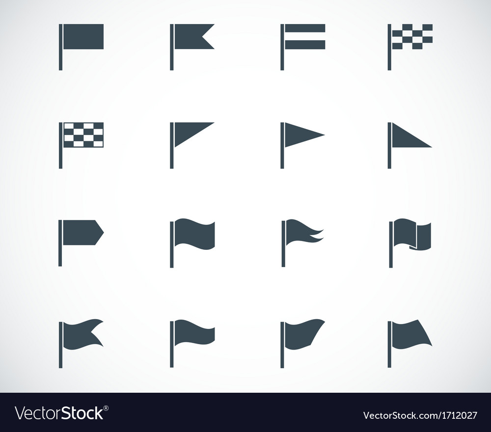 Black flag icons set vector | Price: 1 Credit (USD $1)
