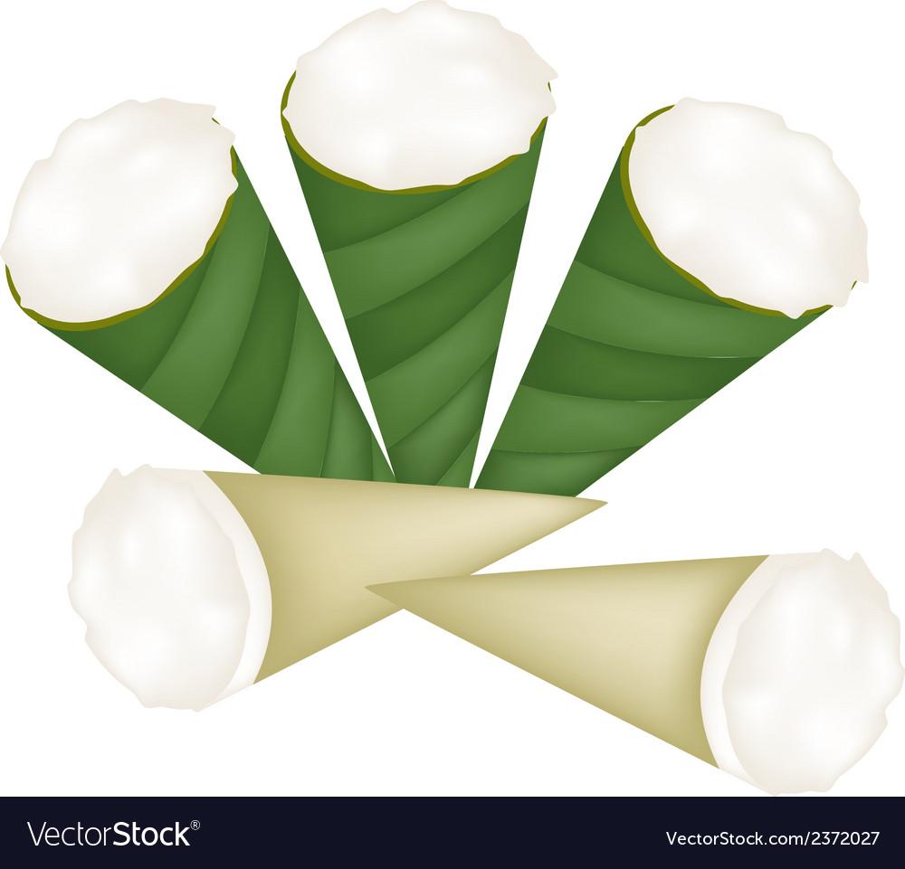 Coconut custard in banana leaf cone vector   Price: 1 Credit (USD $1)