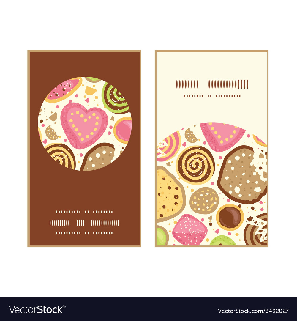 Colorful cookies vertical round frame pattern vector | Price: 1 Credit (USD $1)