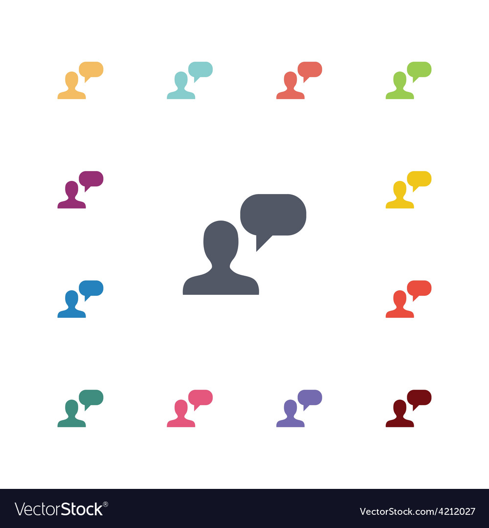 Conversation flat icons set vector | Price: 1 Credit (USD $1)