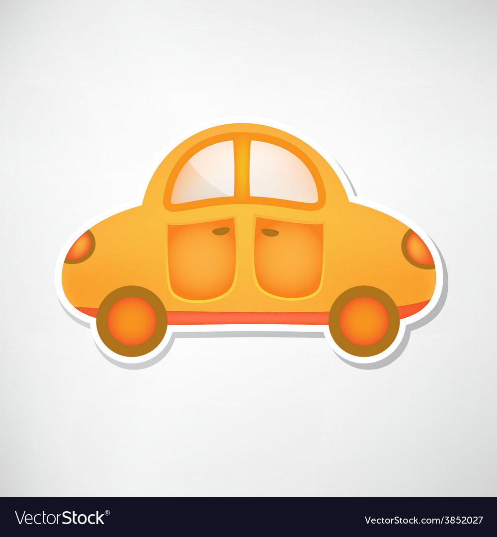 Cute orange toy car icon isolated vector | Price: 1 Credit (USD $1)