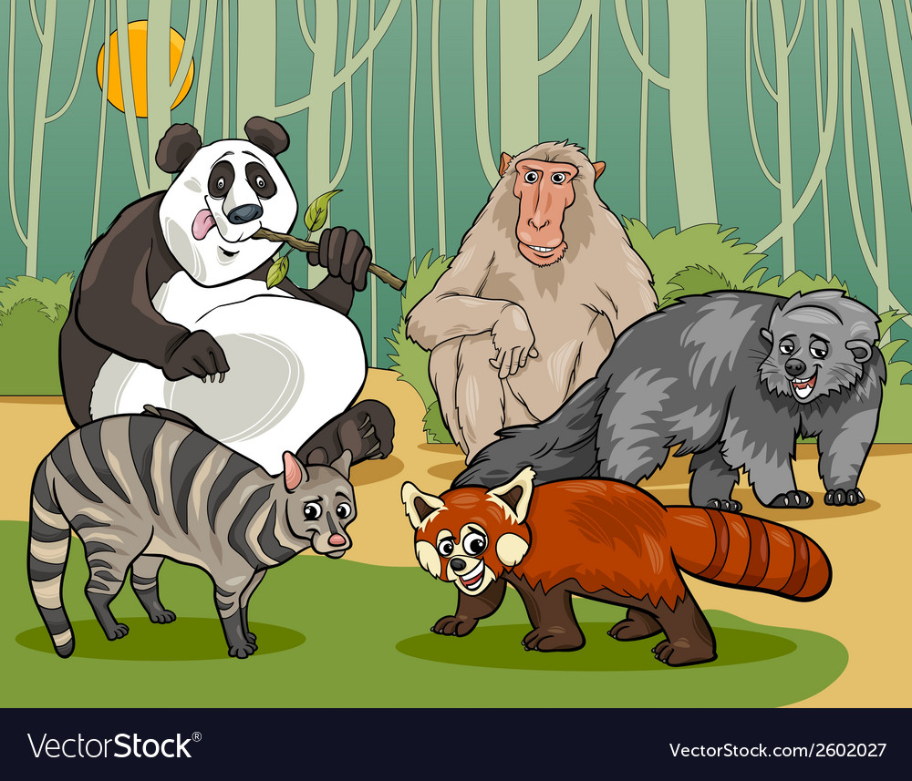 Mammals animals cartoon vector | Price: 1 Credit (USD $1)