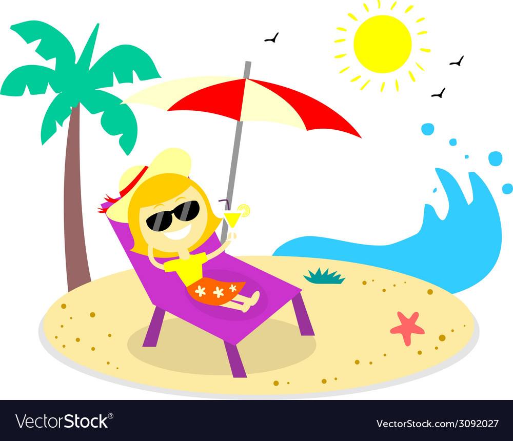 Relaxing vacation on the beach vector | Price: 1 Credit (USD $1)