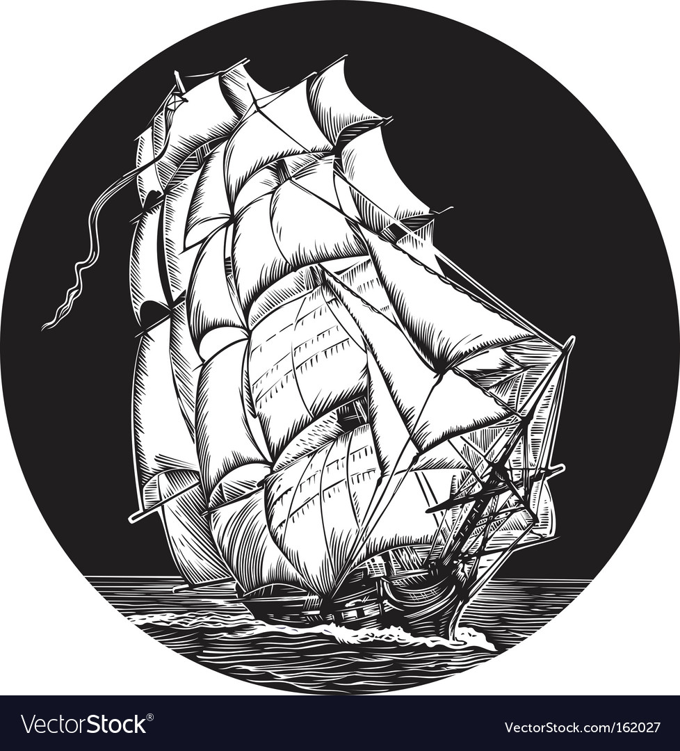 Sailing ship emblem vector | Price: 1 Credit (USD $1)