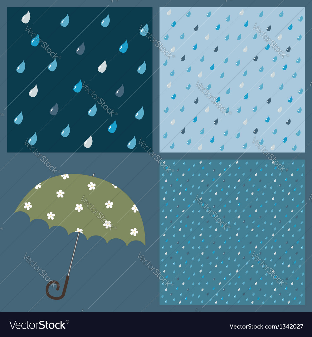 Seamless patterns with raindrops vector | Price: 1 Credit (USD $1)