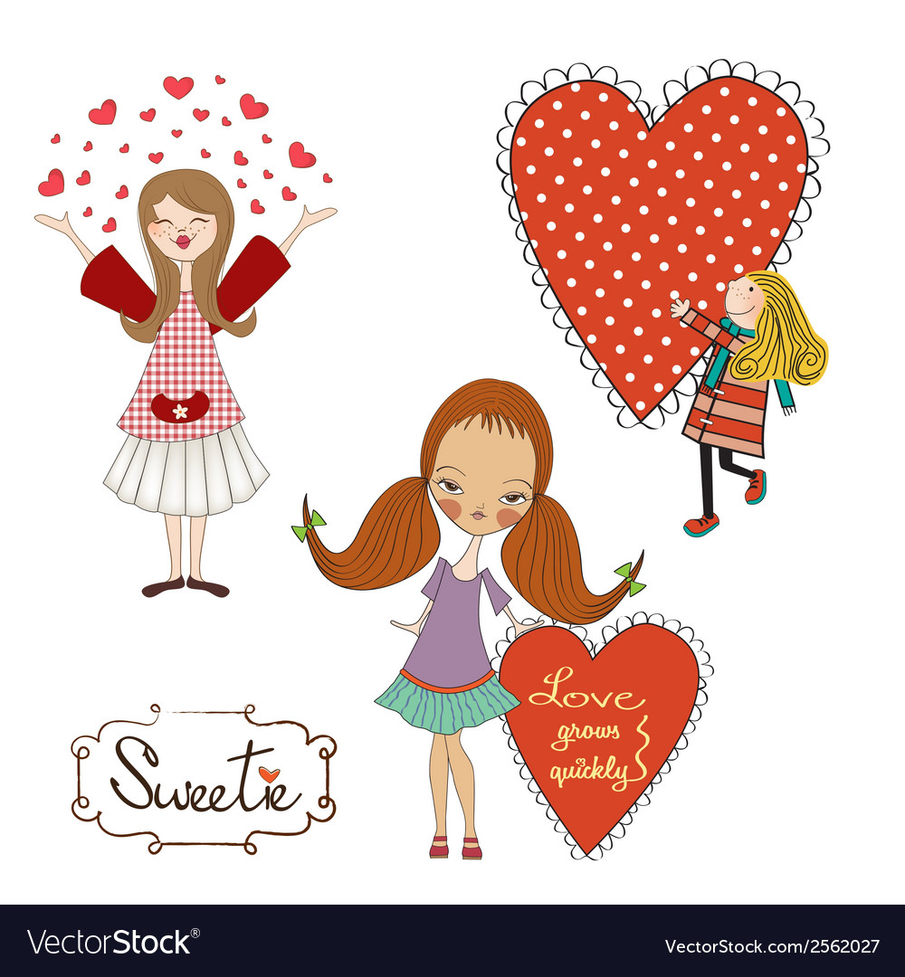 Set of three girls in love isolated on white vector | Price: 1 Credit (USD $1)