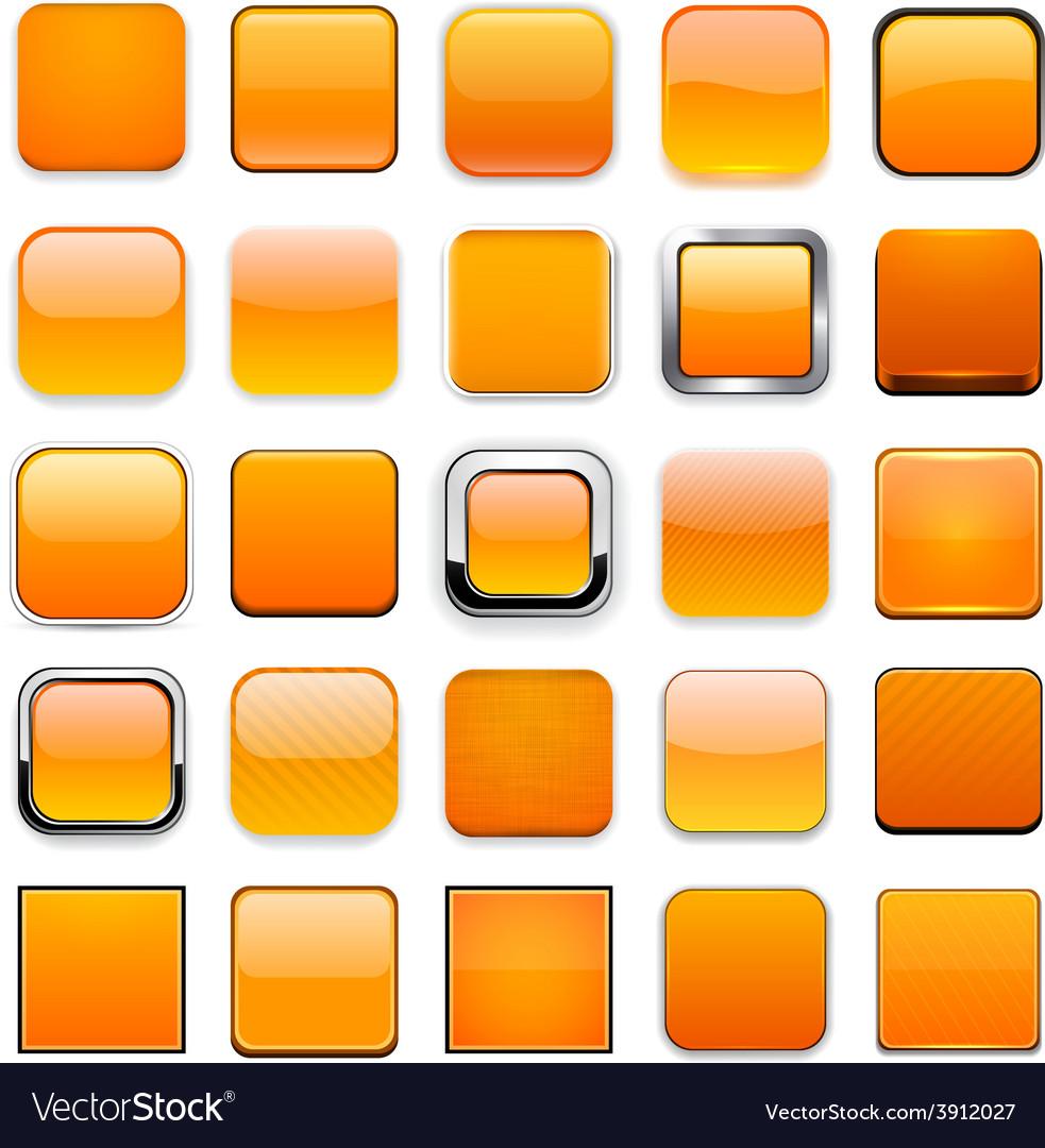 Square orange app icons vector | Price: 1 Credit (USD $1)