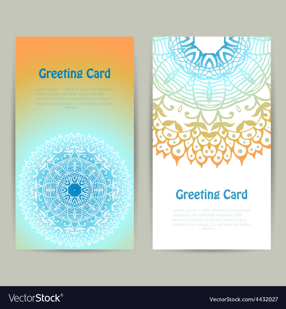 Vertical greeting orange and blue card with lace vector | Price: 1 Credit (USD $1)