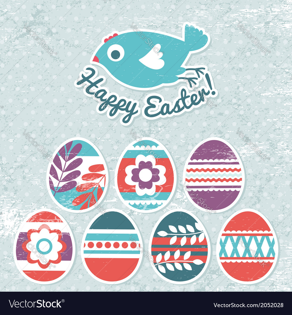Background with easter eggs on grunge background vector | Price: 1 Credit (USD $1)